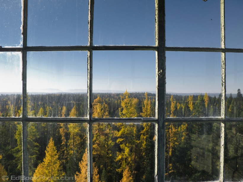 Hoodoo Fire lookout tower window